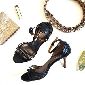 COACH Black Ankle Buckle Strappy Heels Size 8